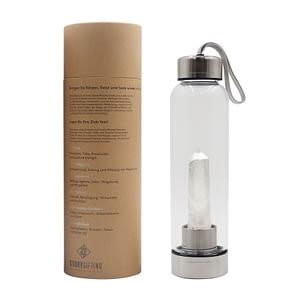 Kristall Wasserflasche mit Bergkristall und Verpackung