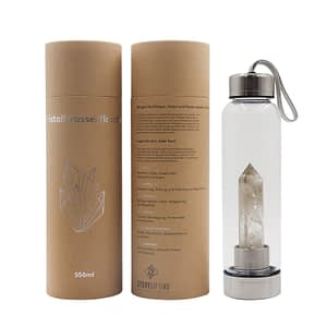 Kristall Wasserflasche mit Rauchquarz und Verpackung