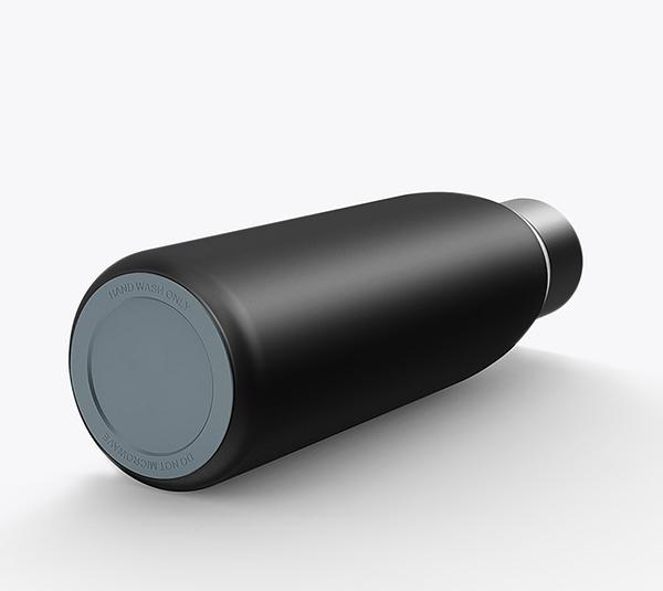Smart Bottle in schwarz liegend von unten